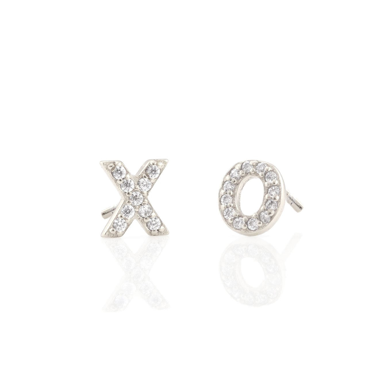 KRIS NATIONS - XO PAVE STUDS IN SILVER