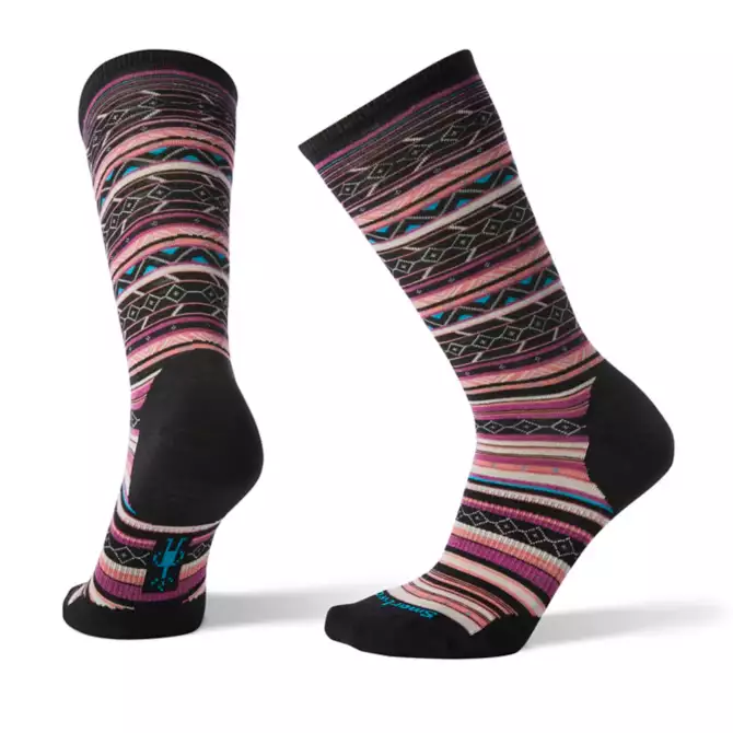 SMARTWOOL - W ETHNO GRAPHIC CREW IN BLACK/MEADOW MAUVE