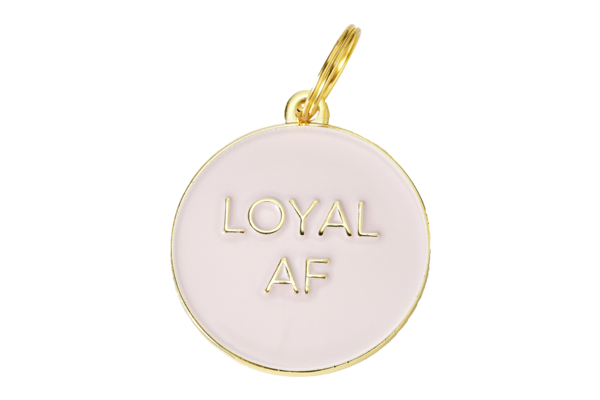 TWO TAILS PET COMPANY - LOYAL AF COLLAR CHARM IN PINK