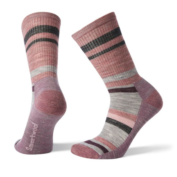 SMARTWOOL-STRIPED HIKE LTCREW NOSTALGIA ROSE