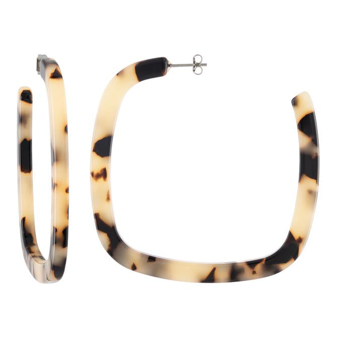 MACHETE - LARGE SQUARE HOOPS IN BLONDE TORTOISE
