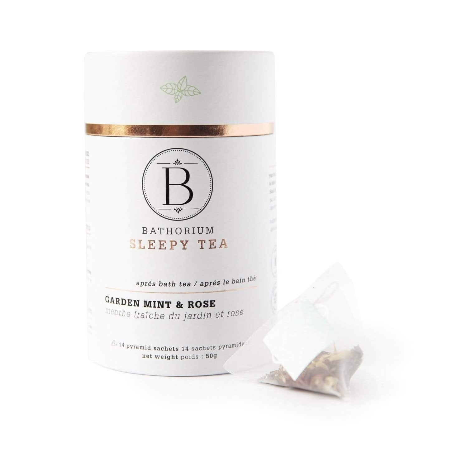 BATHORIUM - APRES BATH - SLEEPY TIME PYRAMID BAGGED TEA - GARDEN MINT & ROSE