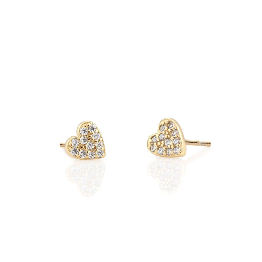 KRIS NATIONS - HEART PAVE STUD IN GOLD