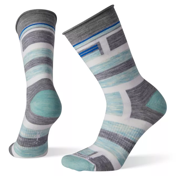 SMARTWOOL - NON-BINDING PRESSURE FREE STRIPED CREW IN LIGHT GREY