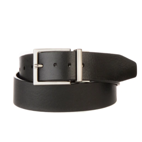 BRAVE LEATHER - NATHAN REVERSIBLE LEATHER BELT IN BLACK MILLED/BROWN MILLED