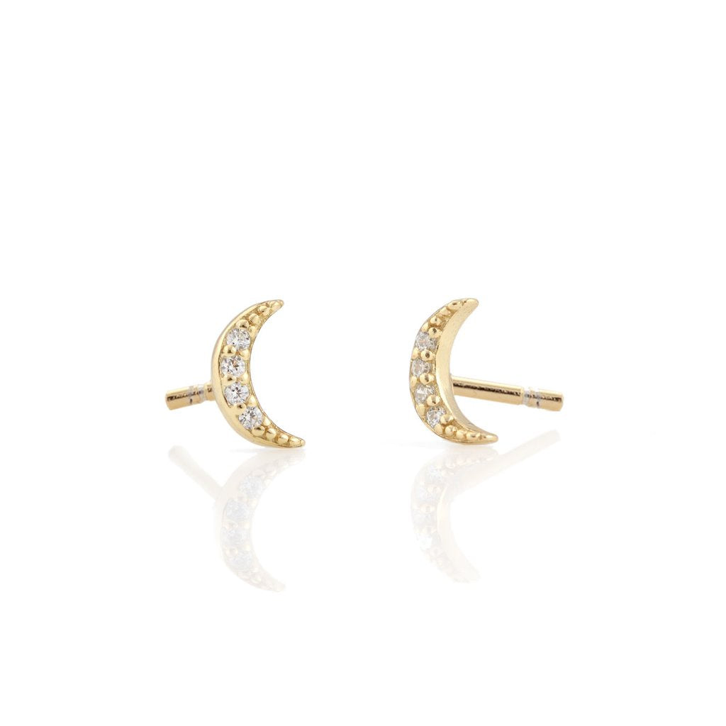 KRIS NATIONS - CRESCENT MOON PAVE STUD IN GOLD