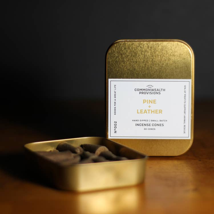 COMMONWEALTH PROVISIONS - INCENSE CONES IN PINE & LEATHER