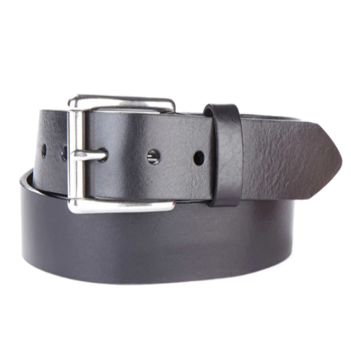 BRAVE LEATHER - CLASSIC LEATHER BELT IN BLACK MILLED