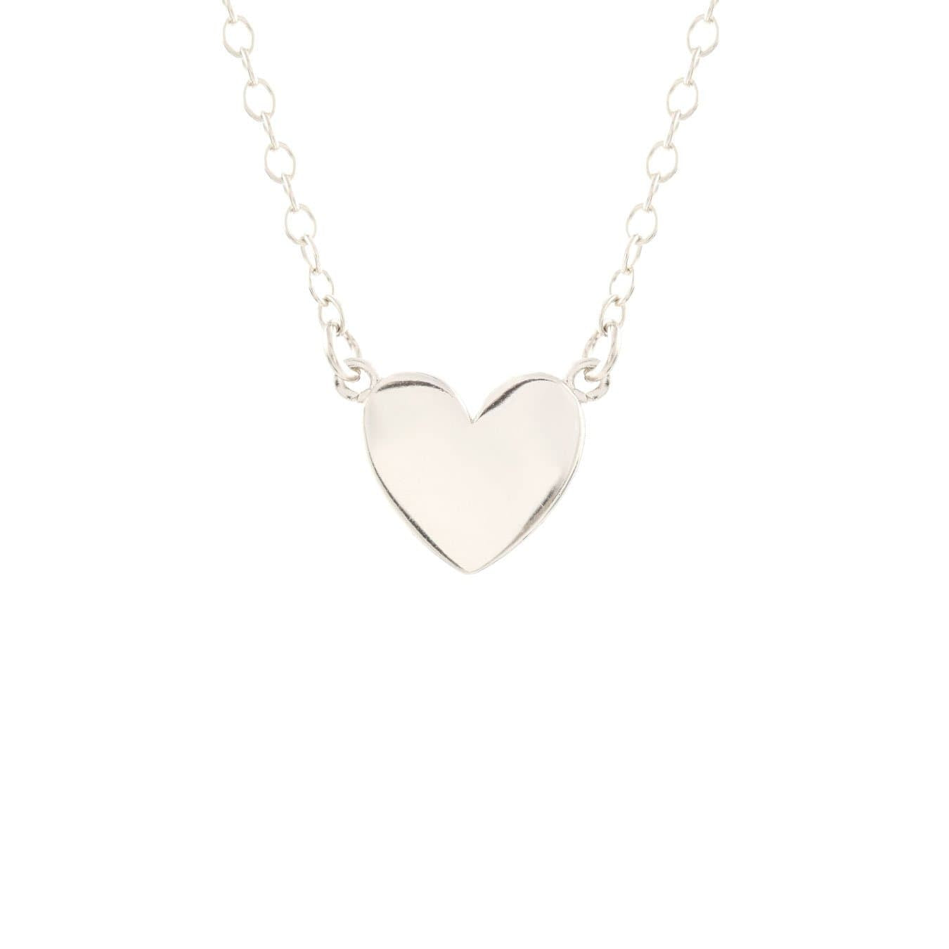 KRIS NATIONS - SOLID HEART NECKLACE IN SILVER