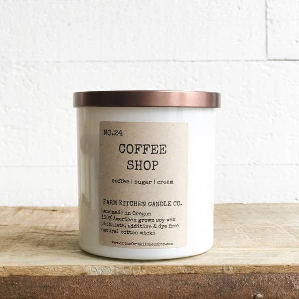 FARM KITCHEN CANDLE CO. - COFFEE SHOP SOY CANDLE - WHITE