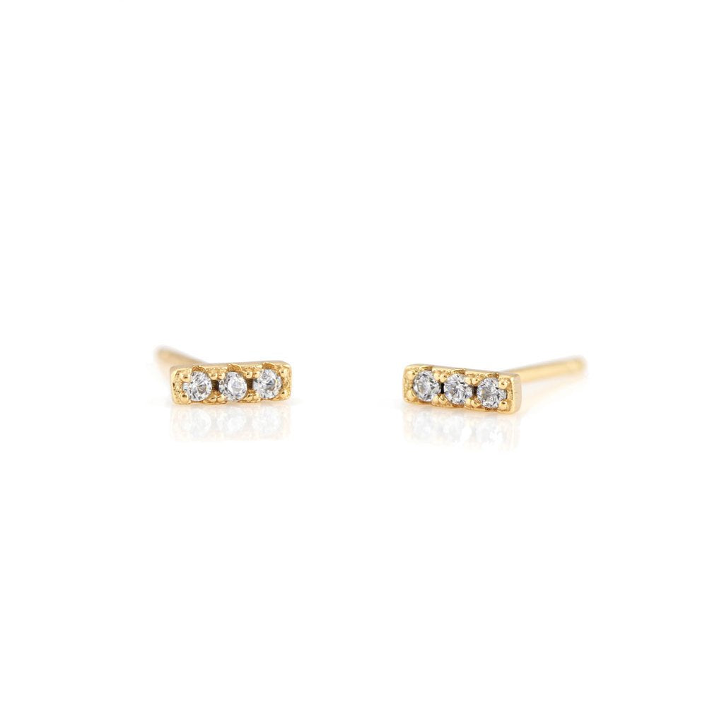 KRIS NATIONS - BAR DASH PAVE STUDS IN GOLD