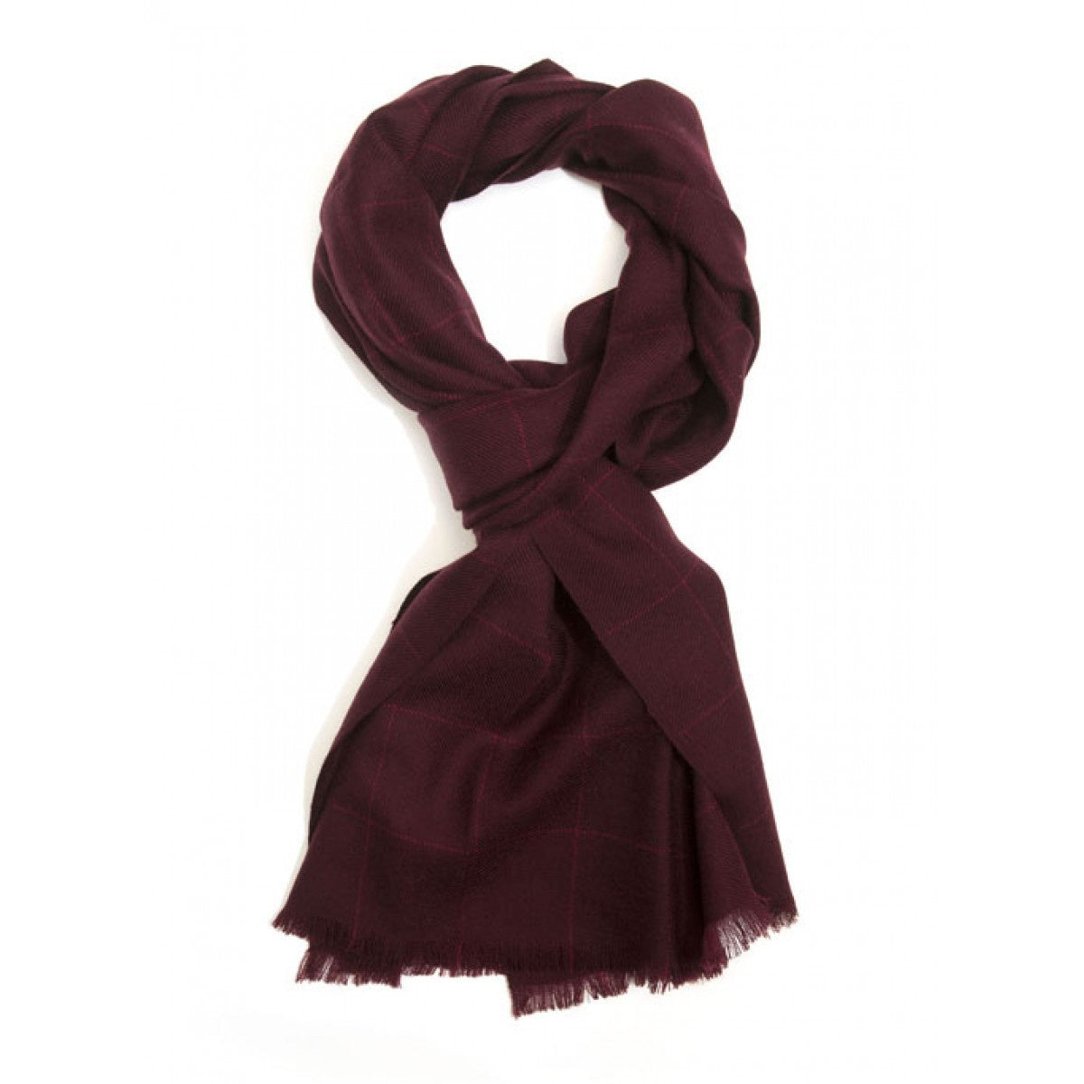 Parc City Boot Co. - Micro Wool Scarf in Burgundy Windowpane Check