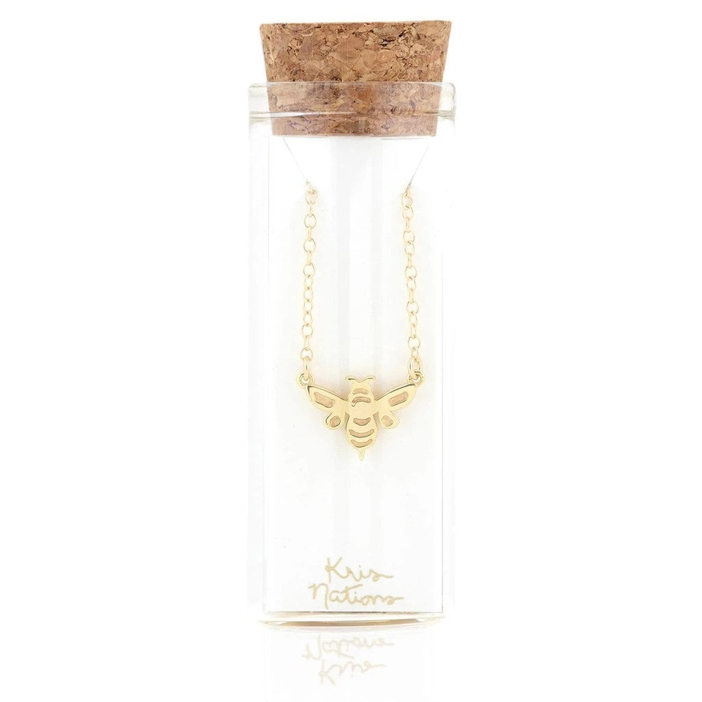 KRIS NATIONS - BUMBLE BEE CHARM NECKLACE IN GOLD