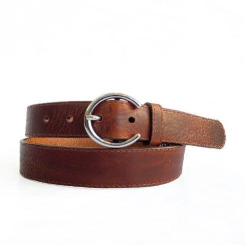 BRAVE LEATHER - ZONA LEATHER BELT IN BRANDY/SILVER