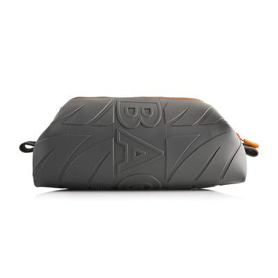 WURKIN STIFFS - GREY DOPP BAG WITH ORANGE ZIPPER
