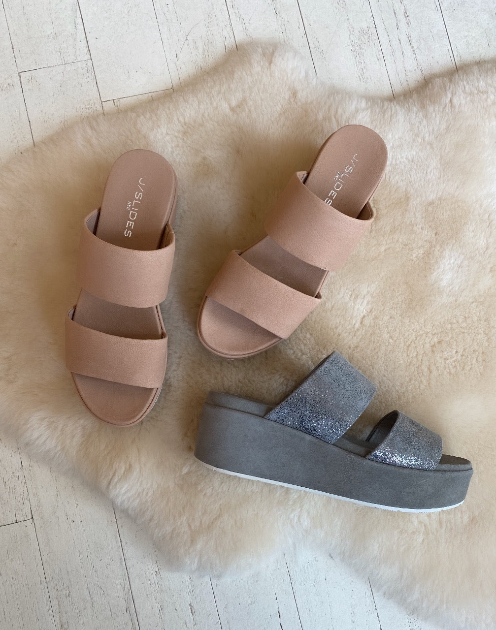 J SLIDES - QUINCY IN BLUSH NUBUCK