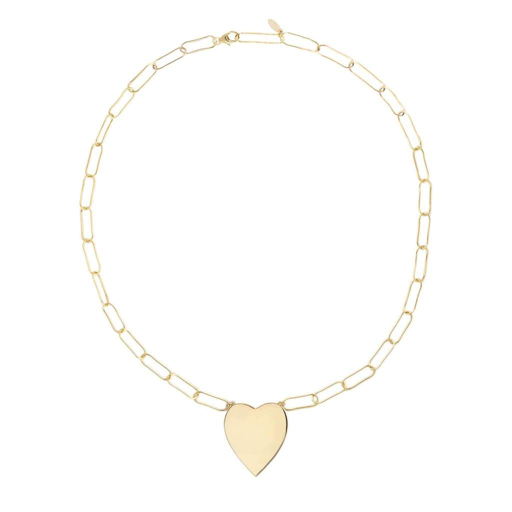 KRIS NATIONS - LARGE HEART PENDANT ON LARGE LINK CHAIN IN GOLD