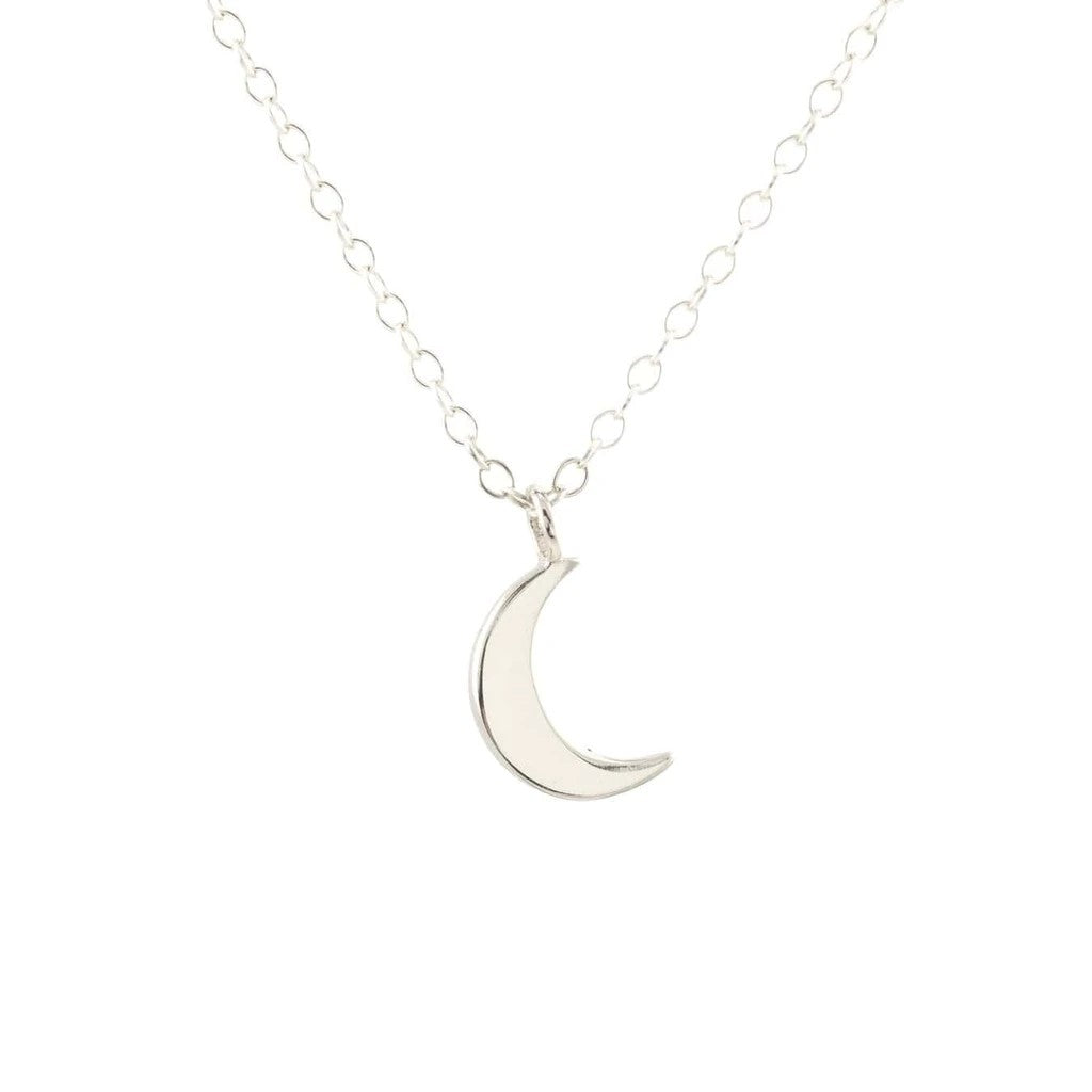 KRIS NATIONS - CRESCENT MOON CHARM NECKLACE IN SILVER