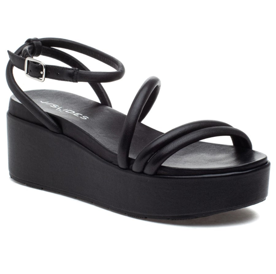 J SLIDES - QUILT IN BLACK LEATHER
