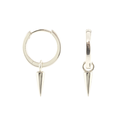 KRIS NATIONS - SPIKE HUGGIE HOOP EARRINGS IN SILVER