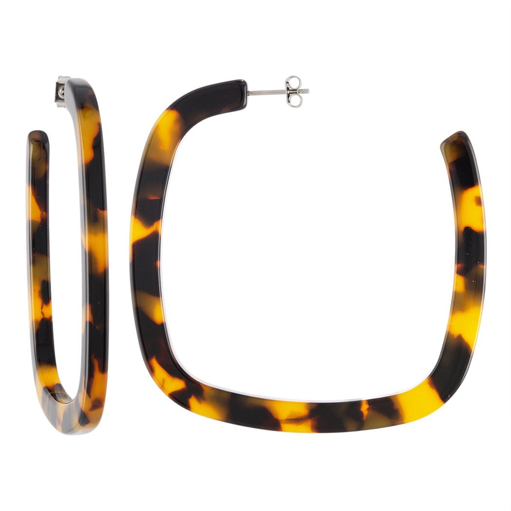 MACHETE - LARGE SQUARE HOOPS IN CLASSIC TORTOISE
