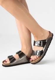 BIRKENSTOCK - ARIZONA IN METALLIC ANTHRACITE LEATHER
