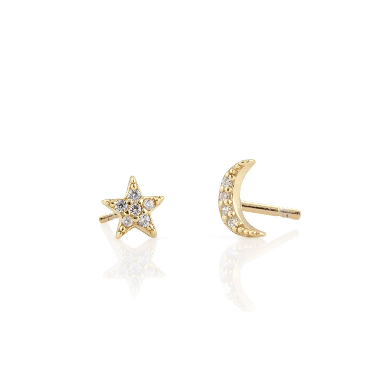 KRIS NATIONS - STAR AND MOON PAVE STUD EARRINGS IN 18K GOLD