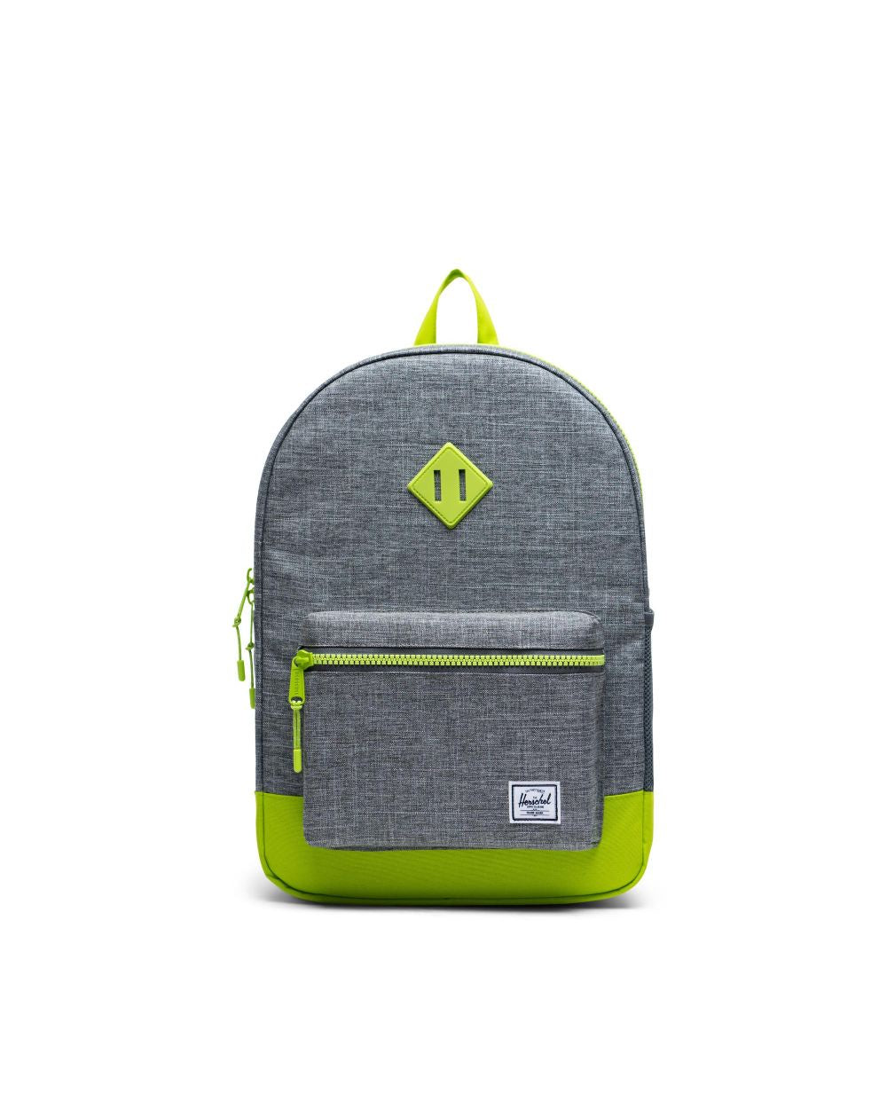 HERSCHEL - HERITAGE YOUTH XL BACKPACK IN RAVEN CROSSHATCH/LIME GREEN