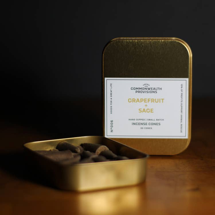COMMONWEALTH PROVISIONS - INCENSE CONES IN GRAPEFRUIT & SAGE