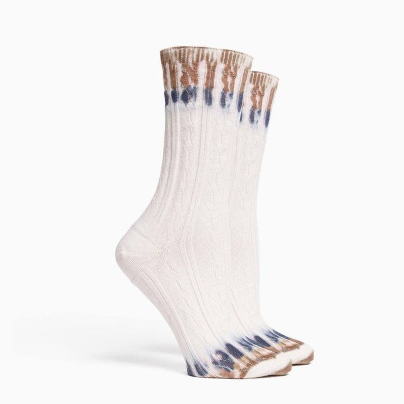 RICHER POORER - CABLE KNIT CREW SOCK IN TIE DYE
