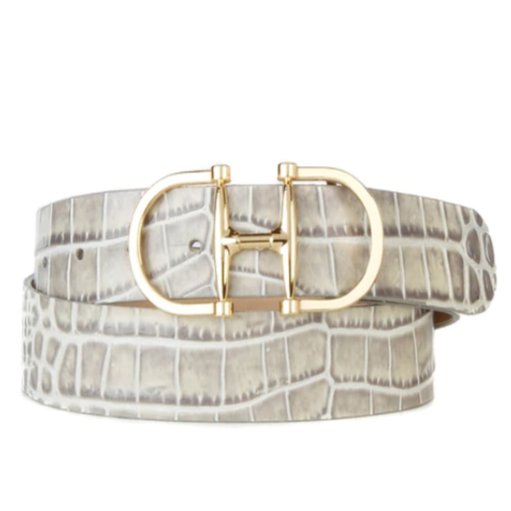 BRAVE LEATHER - KASI BELT IN TWO TONE PLATINUM CROC