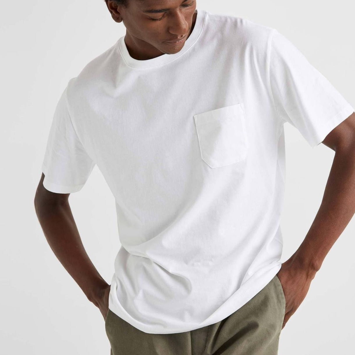 RICHER POORER - MEN'S PIMA CREW SS POCKET TEE IN WHITE