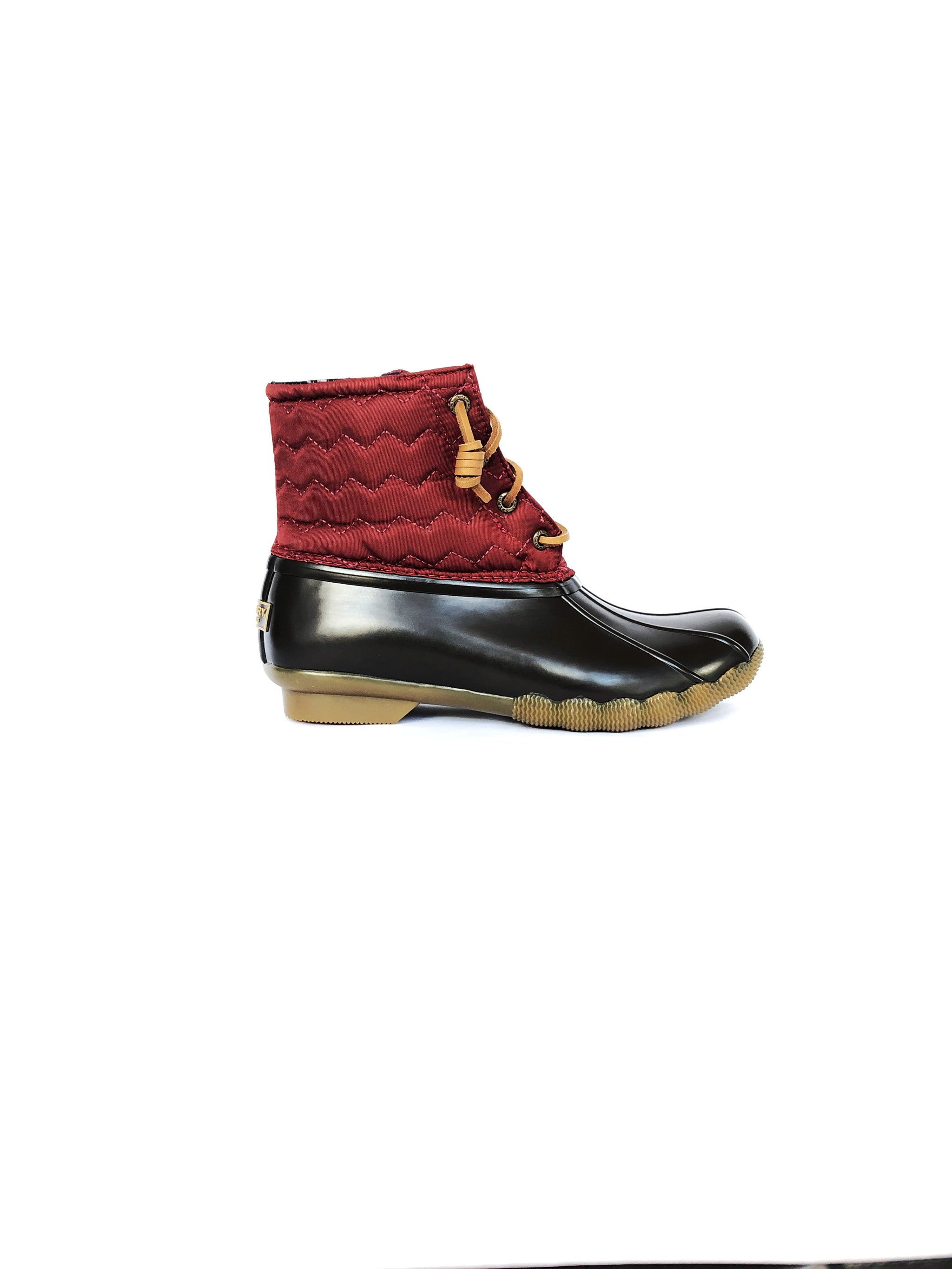 SPERRY - SALTWATER QUILTED CHEVRON DUCK BOOT IN WINE