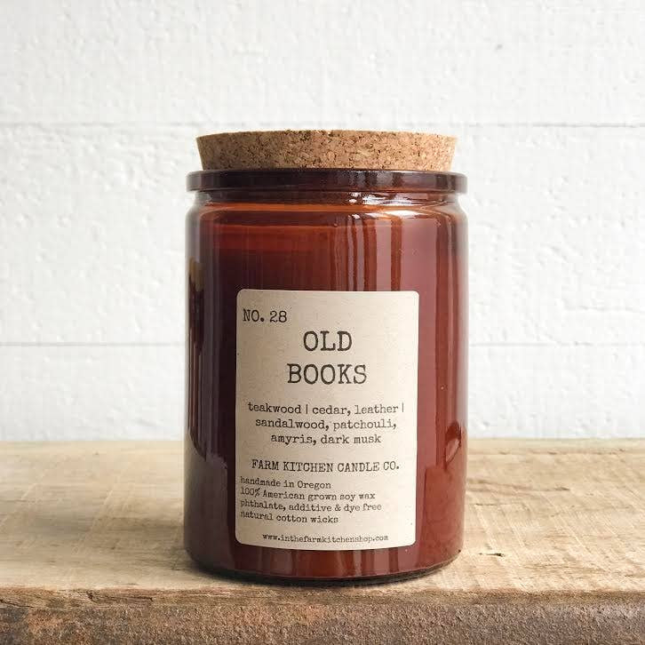 FARM KITCHEN CANDLE CO - OLD BOOKS SOY CANDLE 10.5OZ