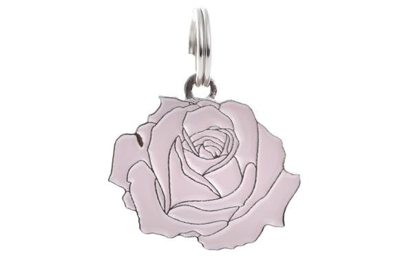 TWO TAILS PET COMPANY - ROSE COLLAR CHARM IN PINK/SILVER