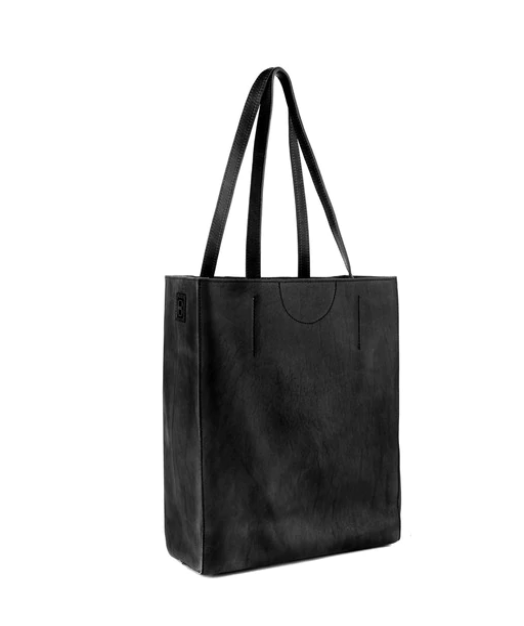BRAVE LEATHER - GIOVANA ECO LEATHER TOTE IN VERY BLACK
