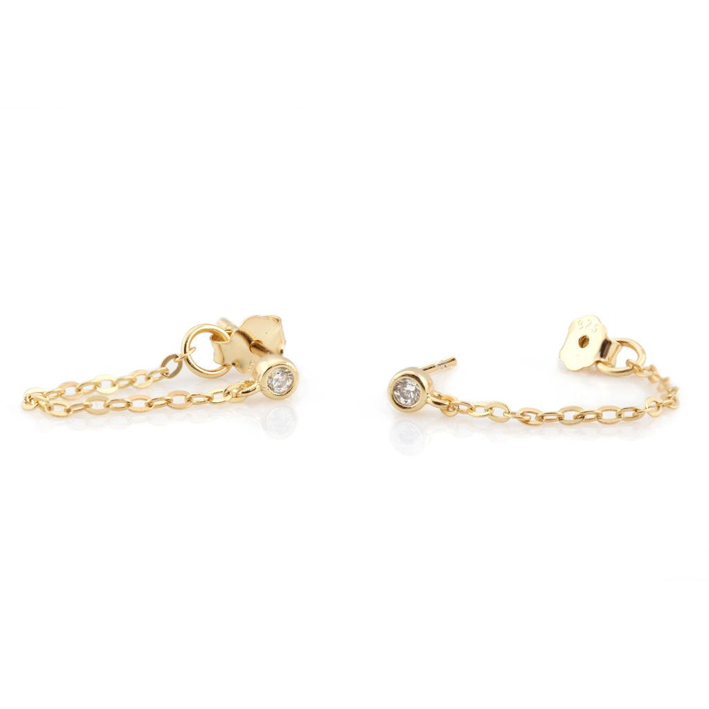 KRIS NATIONS - CHAIN STUDS WITH STONE IN GOLD
