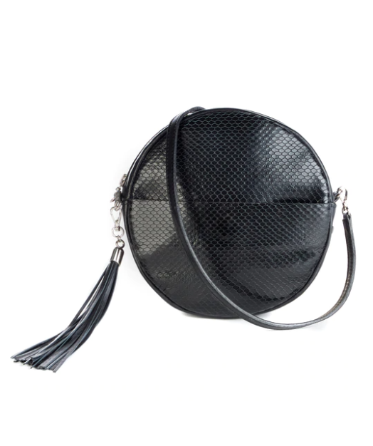 BRAVE LEATHER - FAUSSET CIRCLE BAG IN BLACK SNAKEY