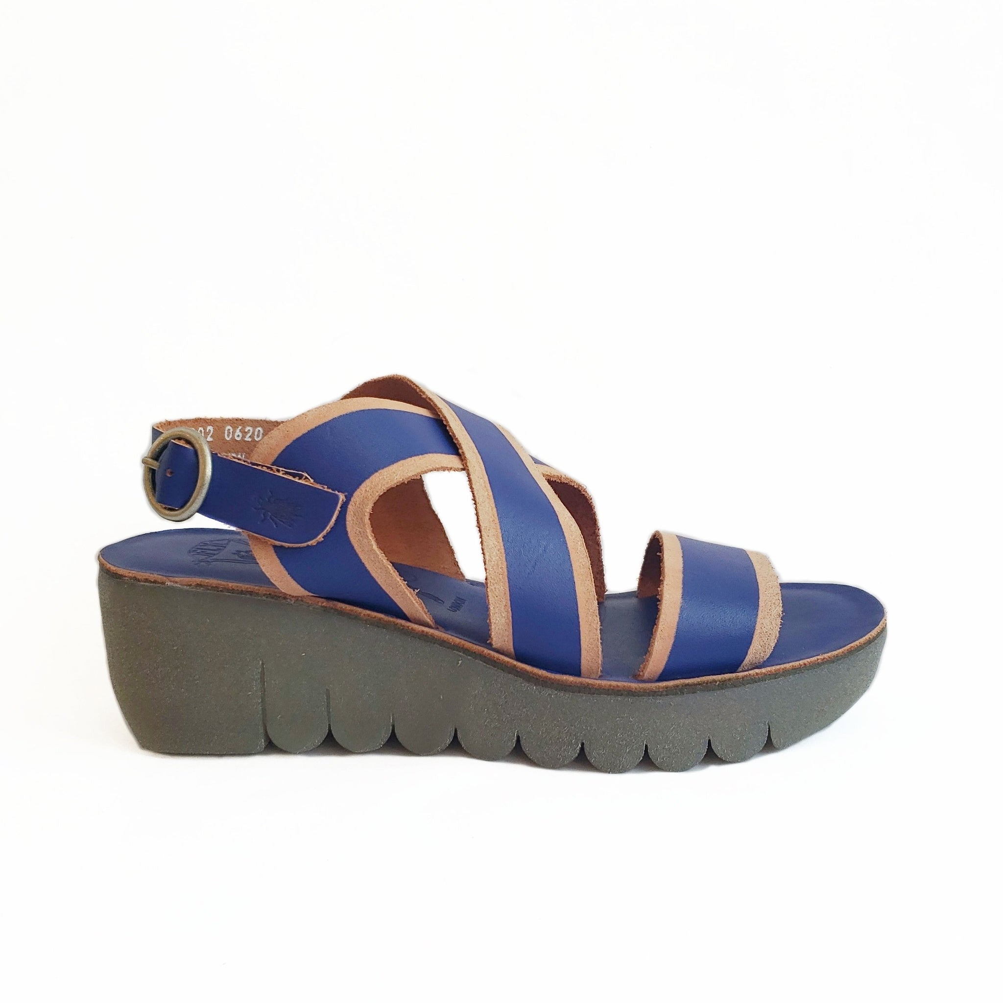 FLY LONDON - YAZE IN BLUE/BRANDY