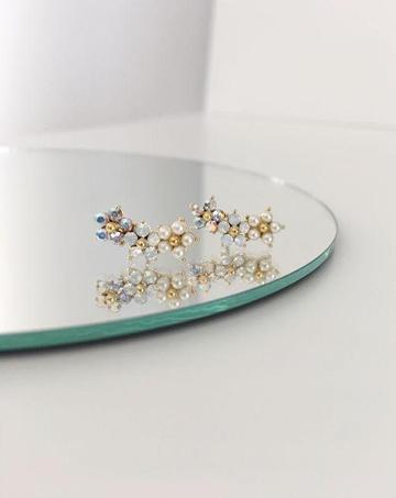 LOVER'S TEMPO - FLORAL CLIMBER EARRINGS IN WHITE