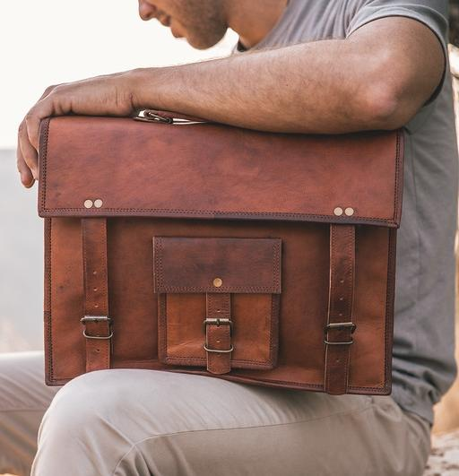 KODIAK - LEATHER SATCHEL IN VEG TAN