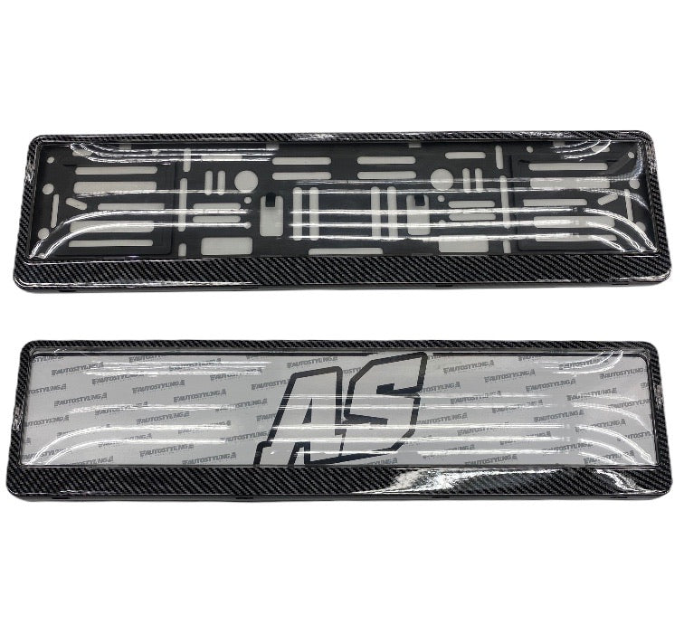 CARBON NUMBER PLATE HOLDER WITH DOMED PLASTIC COVERING
