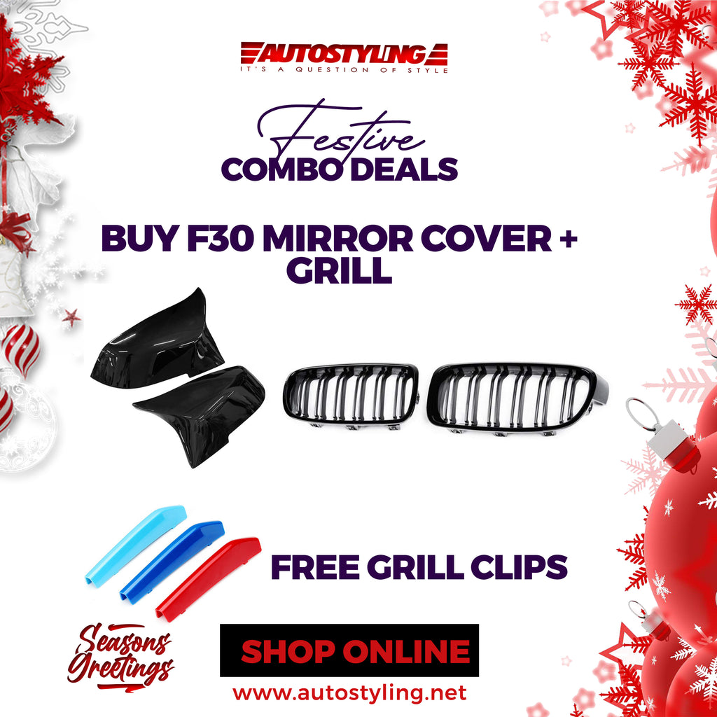 BMW F30 GRILL & MIRROR COVER COMBO + FREE GRILL CLIPS