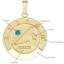 AQUARIUS 14K Gold Pendant (January 21 - February 19)