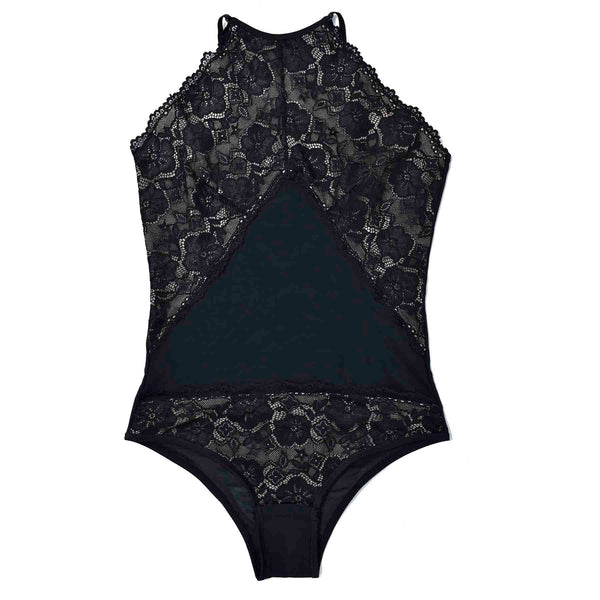 Floral Lace High-neck Bodysuit-Brazilian-Bodysuit-VOLP