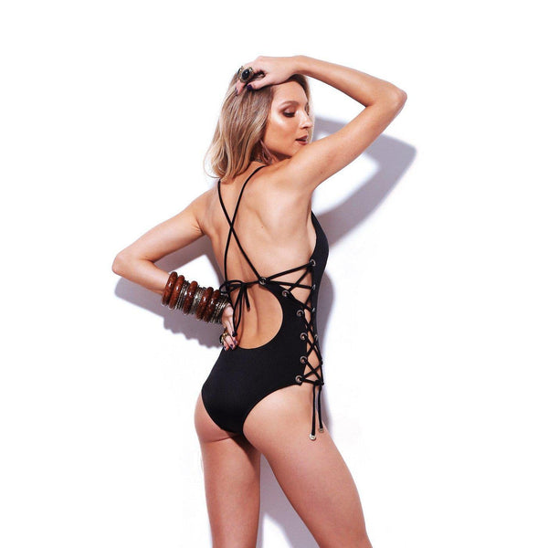 SOLAR Side Laced One-Piece Swimsuit-Brazilian-Swimwear-VOLP