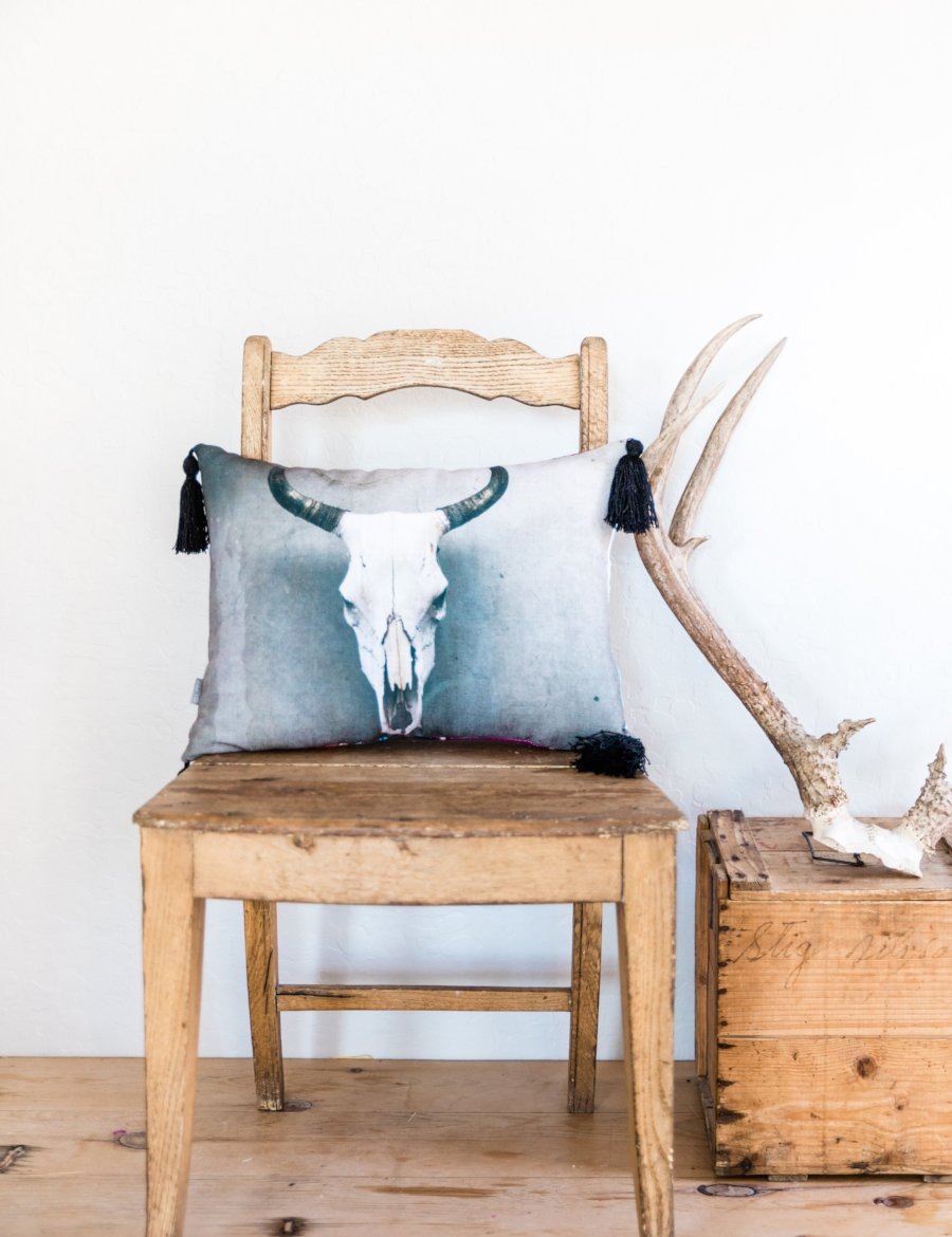 Cow Skull Pillow with Tassels
