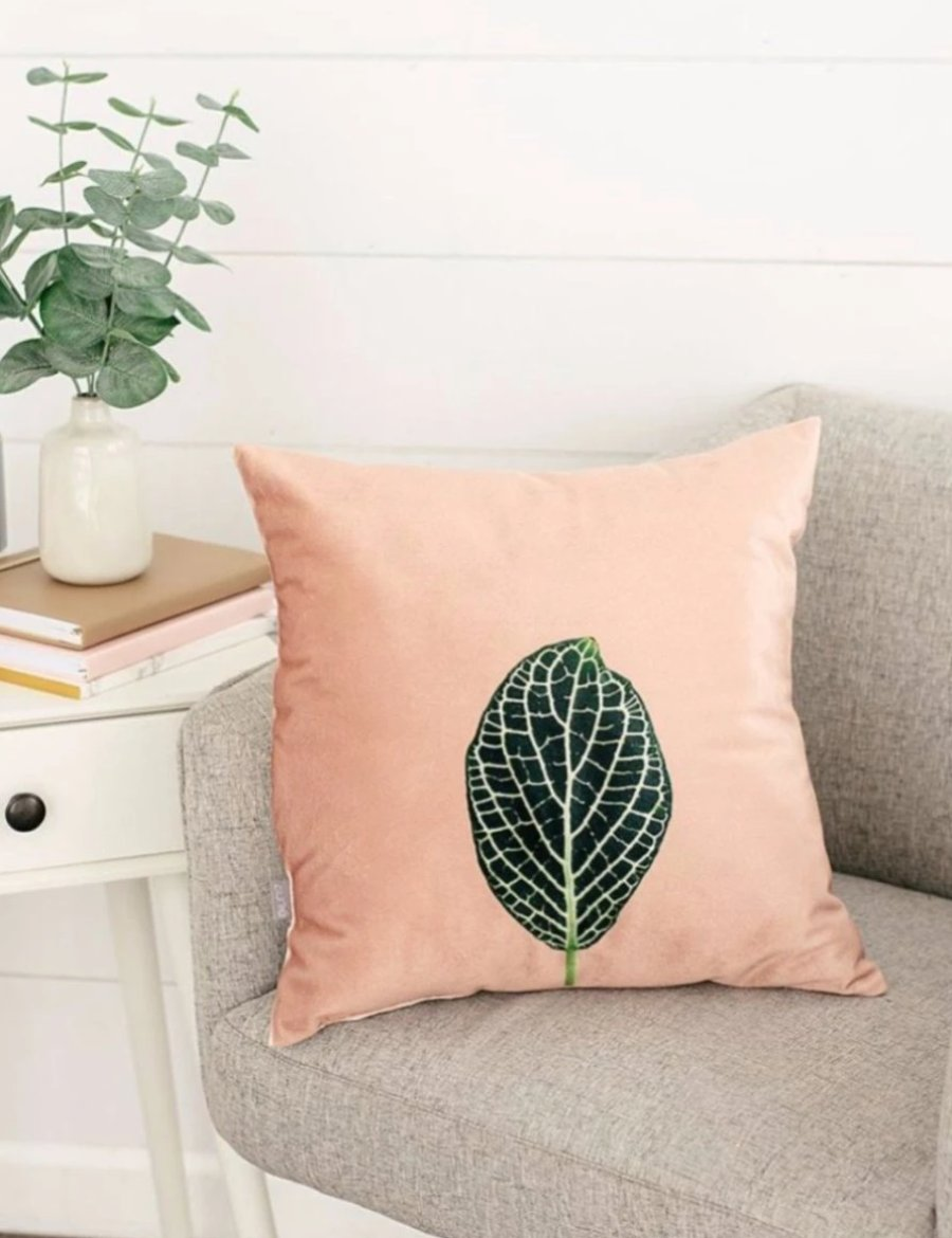 Blush Velvet Mosaic Leaf Pillow