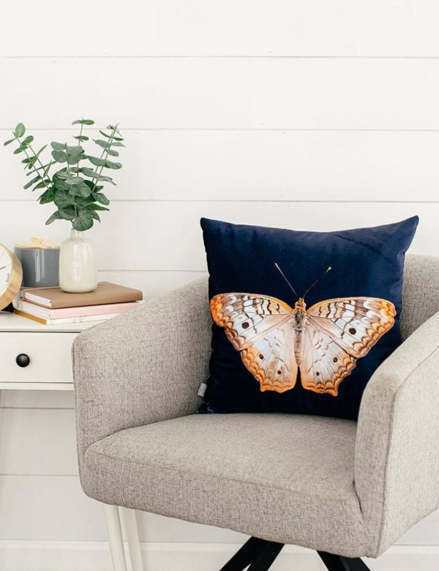 Navy Velvet Butterfly Pillow