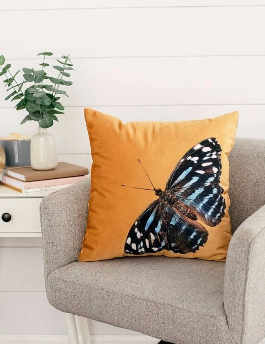 Golden Velvet Butterfly Pillow